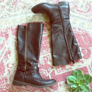 Report vegan leather buckle riding boots